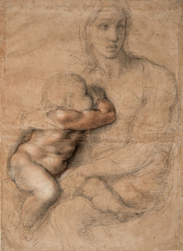 7.-Michelangelo_Unfinished-cartoon-for-a-Madonna-and-Child_Casa-Buonarroti_Florence