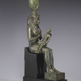 454px-Egyptian_-_Isis_with_Horus_the_Child_-_Walters_54416_-_Three_Quarter_Right